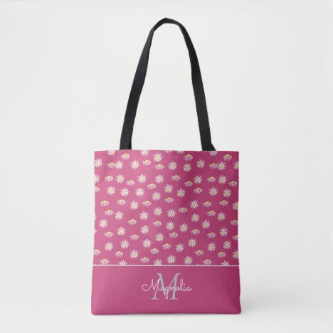 Pastel Pink White Floral Monogrammed Tote Bag