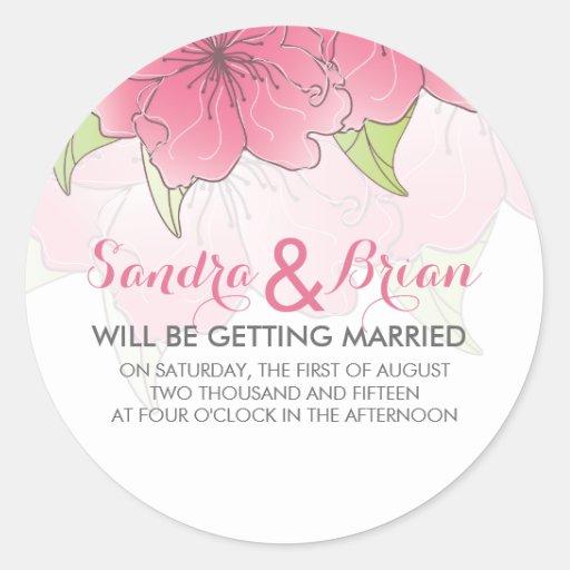 Pastel Pink & White Floral Wedding Design Round Sticker
