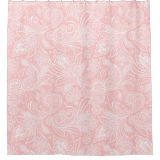 Delightful Pastel Pink U0026amp;White Ornate Paisley Shower Curtain
