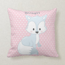 Pastel Pink-White Polka-Dot•Baby Fox•Custom Throw Pillow