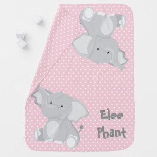 Pastel Pink -White Polka-Dots•Baby Elephant•Custom Receiving Blanket