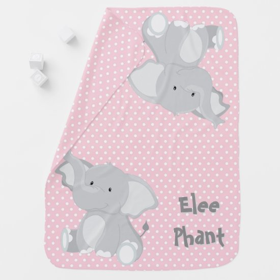 Pastel Pink -White Polka-Dots•Baby Elephant•Custom Receiving Blanket