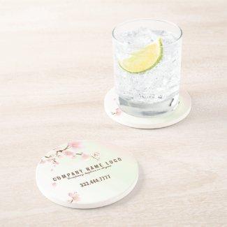 Pastel Pink & White Spring Cherry Blossom Beverage Coaster