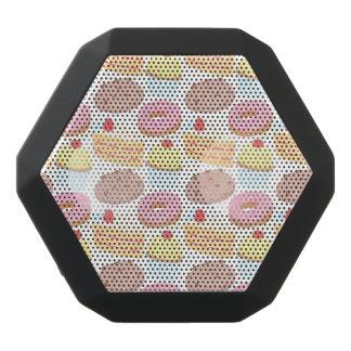 Pastel Pink Yellow Bakery Dessert Food Pattern Black Bluetooth Speaker