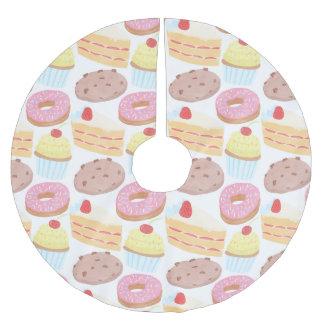 Pastel Pink Yellow Bakery Dessert Food Pattern Brushed Polyester Tree Skirt
