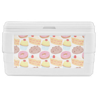 Pastel Pink Yellow Bakery Dessert Food Pattern Chest Cooler