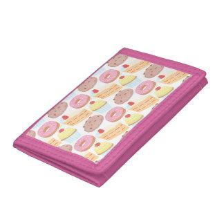Pastel Pink Yellow Bakery Dessert Food Pattern Trifold Wallet