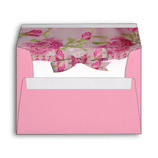 Pastel Pink Yesteryear Lace Flowers & Bow Wedding Envelope