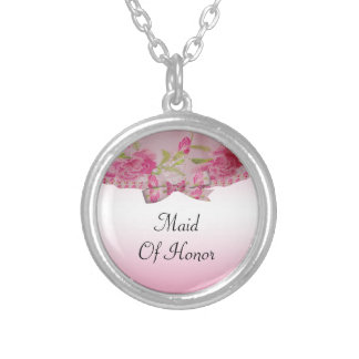 Pastel Pink Yesteryear Lace Flowers & Bow Wedding Silver Plated Necklace
