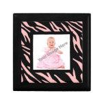 Pastel Pink Zebra Stripe Photo Keepsake Box