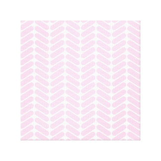 Pastel Pink Zigzag Pattern inspired by Knitting Stretched Canvas Print