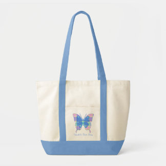 Pastel Plaid Butterfly Canvas Tote Canvas Bags