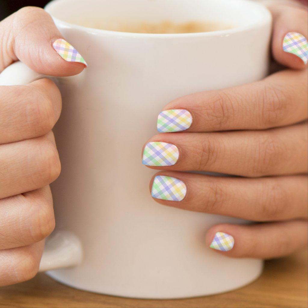 Pastel Plaid Minx Nail Art