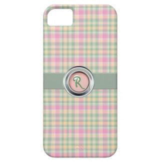 Pastel Plaid Monogram iPhone 5 Case