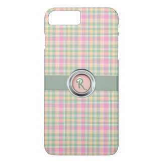Pastel Plaid Monogram iPhone 7 Plus Case