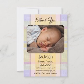Pastel Plaid Neutral Baby Photo Thank You Card