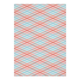 Pastel Plaid Peach and Blue Poster