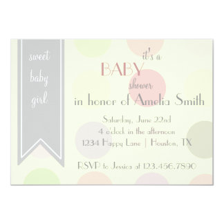 "Pastel Polka Dot Baby Girl Shower Invitation 4.5"" X 6.25"" Invitation Card"