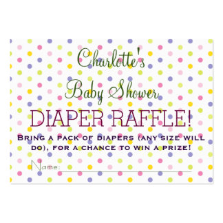 Pastel Polka Dot Baby Shower Diaper Raffle Tickets Large Business Cards (Pack Of 100)