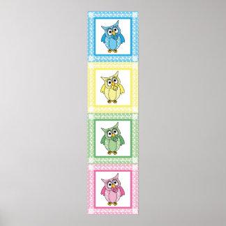 Pastel Polka Dot Owls Poster