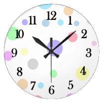 Pastel Polka Dot Pattern Large Clock