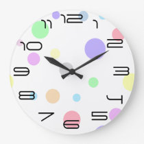 Pastel Polka Dot Pattern Large Clock