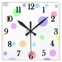 Pastel Polka Dot Pattern Large square wall clock