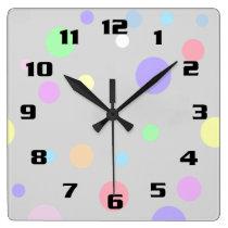Pastel Polka Dot Pattern Square Wall Clock