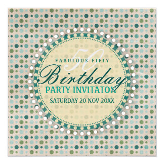 Pastel Polka Dots 50th Birthday Party Invitations