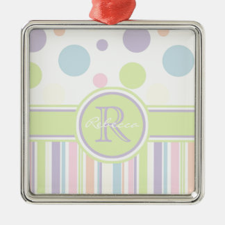 Pastel Polka Dots and Stripes Metal Ornament