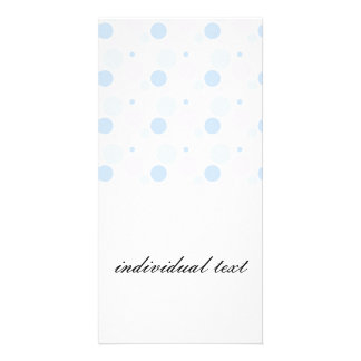 pastel polka dots,blue, pink customized photo card