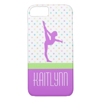 Pastel Polka-Dots Gymnastics in Lavender iPhone 7 Case