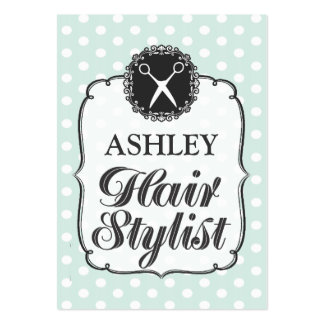 Pastel Polka Dots Hair Stylist Appointment Card Large Business Cards (Pack Of 100)