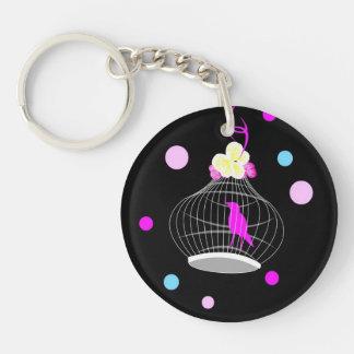 Pastel Polka dots Single-Sided Round Acrylic Keychain
