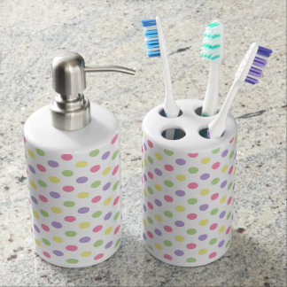 Pastel Polka Dots on White Soap Dispenser & Toothbrush Holder