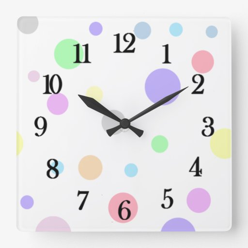Pastel Polka Dots Pattern Wall Clock