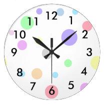Pastel Polka Dots Pattern Large Clock