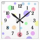 Pastel Polka Dots Pattern Square Wall Clocks