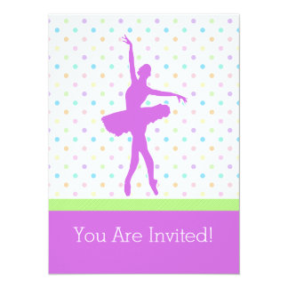 Pastel Polka-Dotted Tutu Dancer With Purple Detail Card