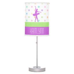 Pastel Polka-Dotted Tutu Dancer With Purple Detail Desk Lamp