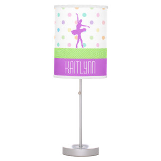 Pastel Polka-Dotted Tutu Dancer With Purple Detail Desk Lamp