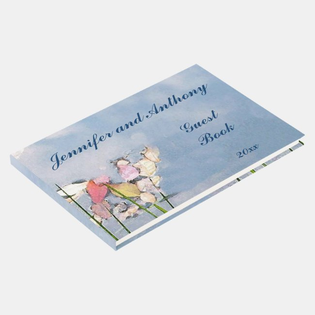 Pastel Pond Reflections Blue Wedding Guest Book