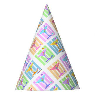 PASTEL POP ART MARTINI GLASSES PARTY HAT