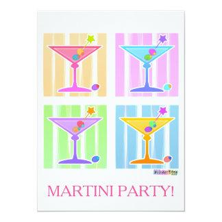 PASTEL POP ART MARTINIS 5.5X7.5 PAPER INVITATION CARD