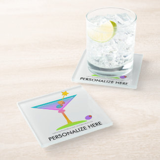 PASTEL POP ART MARTINIS GLASS COASTER