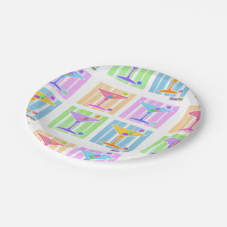 PASTEL POP ART MARTINIS PAPER PLATE
