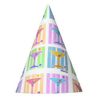 PASTEL POP ART MARTINIS PARTY HAT