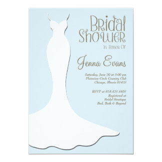 Pastel Powder Blue Bridal Shower Elegant Vintage Card