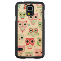 pastel powder color owl background carved maple galaxy s5 slim case
