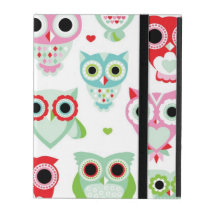 pastel powder color owl background iPad folio case